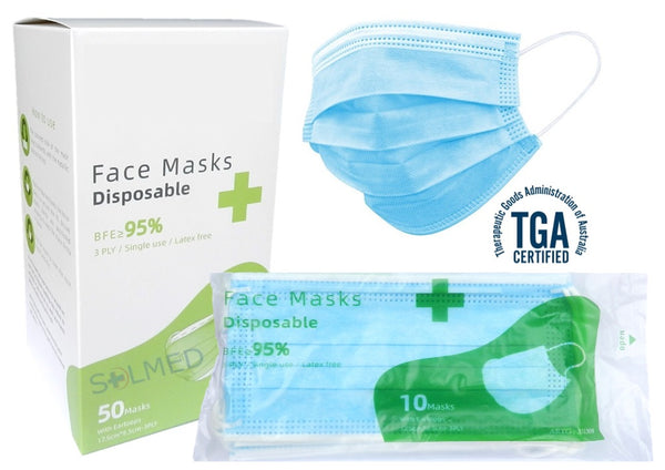 Surgical Face Mask With Earloops 3 Ply BFE>95% - Box of 50 Blue