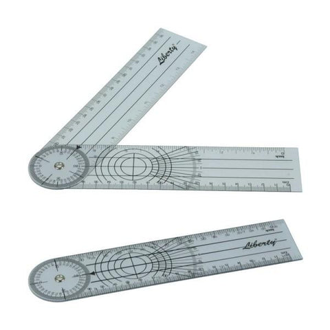 "LIBERTY PLASTIC GONIOMETER 180º 7.5"" 19CM CALIBRATED RANGE MOVEMENT MEASURE"