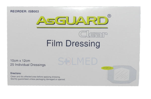 AsGUARD® WATER RESISTANT TRANSPARENT FILM DRESSING 10CM X 12CM X 1