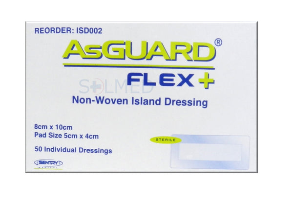 ASGUARD® FLEX PLUS WOUND ISLAND DRESSING 8CM X 10CM WITH NON WOVEN PAD BOX 50