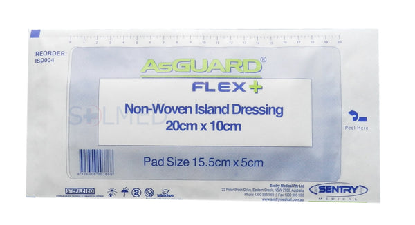 ASGUARD® FLEX PLUS WOUND ISLAND DRESSING 20CM X 10CM WITH NON WOVEN PAD