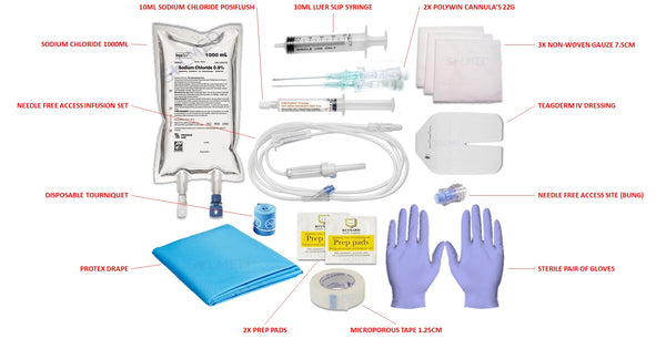 IV ACCESS KIT - 1000ML SODIUM CHLORIDE