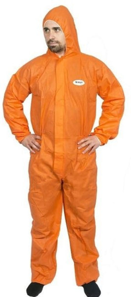 HI CALIBRE PROTECTIVE DISPOSABLE COVERALLS SMS ORANGE (LARGE SIZE) OVERALLS X 1