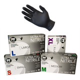 Ultra Feel Medical Examination Nitrile Powder Free Gloves Black Box 100s
