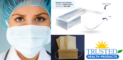 SUB MICRON BFE ≥99.9% Surgical Face Mask With Earloops FLUID RESISTANT - Box of 50 WHITE