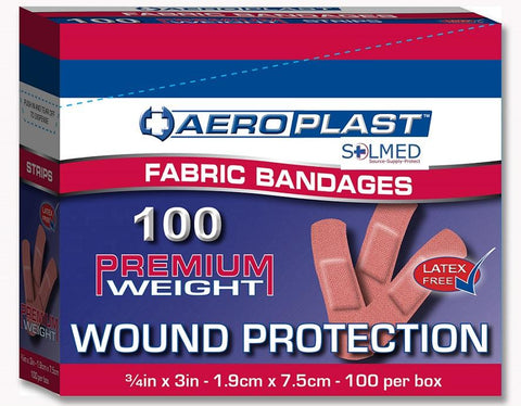100 FIRST AID BANDAIDS FABRIC PREMIUM WEIGHT SUPER BOND 19MM X 75MM