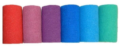 COHESIVE BANDAGE 7.5CM x 4.7M ASSORTED COLOURS X6