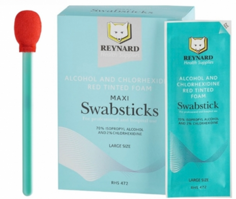 LARGE SWAB STICKS MAXI SKIN PREP 70% ALCOHOL & 2% CHLORHEXIDINE FOAM SWAB STICKS X Box 25