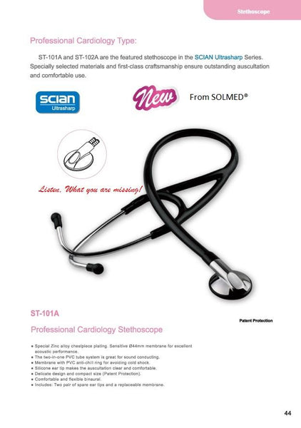 PREMIUM CARDIOLOGY STETHOSCOPE ZINC ALLOY SINGLE HEAD DELUXE BLACK (BOXED) X 1
