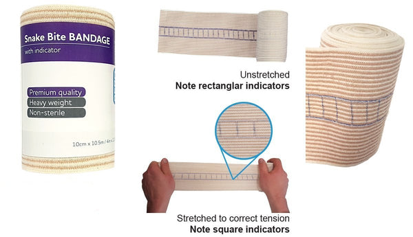SNAKE BITE BANDAGE WITH COMPRESSION INDICATOR EXTRA LONG 10.5M x 10CM WIDTH