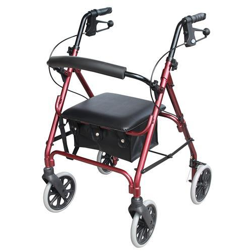 DAYS ROLLATOR SERIES 105 MOBILITY SEAT WALKER RED 165KGs CAPACITY