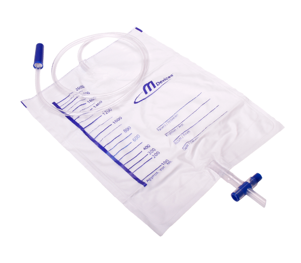URINE DRAINAGE BAG 2000ML STERILE WITH T BAR BOTTOM OUTLET & NON RETURN VALVE (x1)