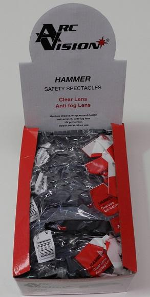HAMMER SAFETY EYE GLASSES CLEAR ANTI-FOG SCRATCH RESISTANT UV PROTECTION BOX 12
