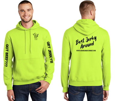 Best Jerky Around Hoodie Safety Green