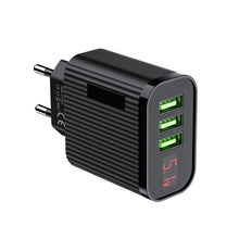 Load image into Gallery viewer, FLOVEME LED Digital Display 3 Ports USB Charger EU Plug Travel Wall Mobile Phone Charger Adapter For iPhone Samsung Xiaomi