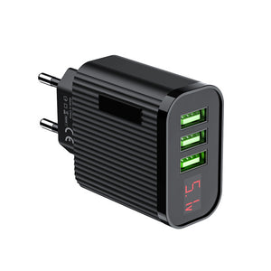 FLOVEME LED Digital Display 3 Ports USB Charger EU Plug Travel Wall Mobile Phone Charger Adapter For iPhone Samsung Xiaomi
