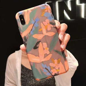 Painting Flower Phone Case For iphone 11 Pro Max X XR XS Max 6 Plus 6S 7 8 Plus Art Leaves Floral Soft IMD Back Cover Coque