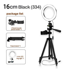 Load image into Gallery viewer, 16cm Height Adjustable Photography Phone Holder Led Tripod Stand Anti Slip Selfie Ring Light Set Bright Live Broadcast Makeup