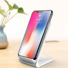 Load image into Gallery viewer, New vertical desktop wireless charger 10W fast charging mobile phone holder portable QI charger for iPhone XIAOMI HUAWEI Samsung