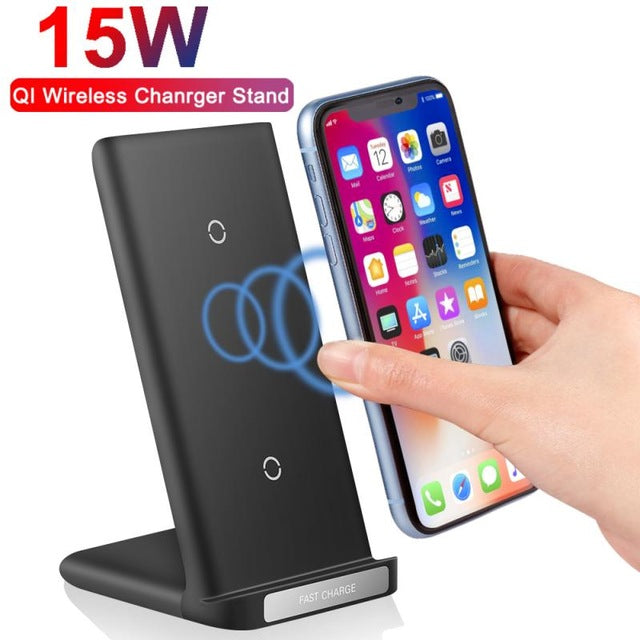 15W Qi Wireless Charger Stand Fast Wireless Charging Station Phone Charger Stand Holder For iPhone 11 pro X XS Samsung S20 S10 S