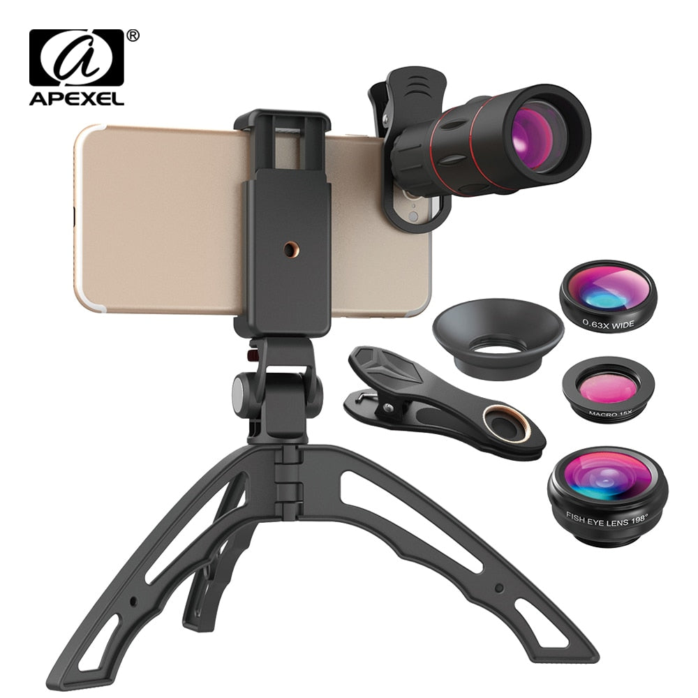 APEXEL 18X Telescope Phone Lens Monocular+3in1 Fisheye Wide Macro Lens +Selfie Tripod With Bluetooth for iPhone Smartphones