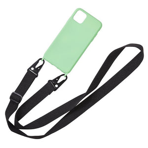 Liquid Silicone Chain Necklace Cell Phone Case With Lanyard Neck Strap Rope Cord For iPhone 6 7 8 Plus X XS XR 11pro MAX