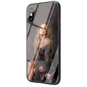 Jennifer Lopez Tempered Glass TPU Black Case for iPhone SE 2020 11 Pro X or 10 8 7 6 6S Plus Xr Xs Max