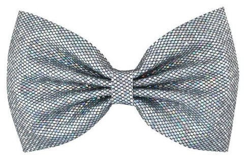 Silver Chunky Glitter Hair Bow on Clip