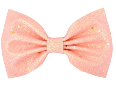 Coral Glitter Hair Bow on Clip