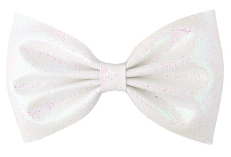 White Glitter Hair Bow on Clip