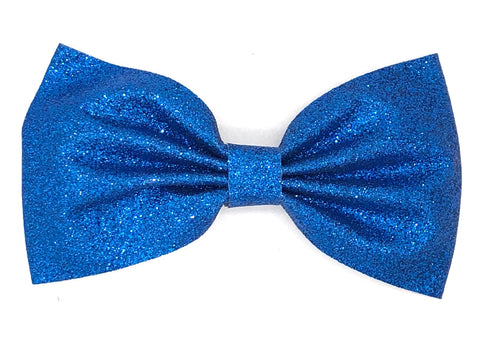 Blue Glitter Hair Bow on Clip