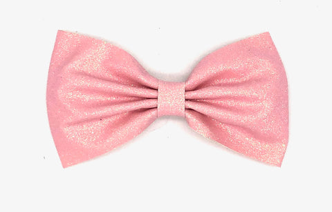 Pink Glitter Hair Bow on Clip