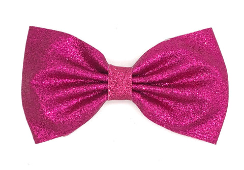 Hot Pink Glitter Hair Bow on Clip