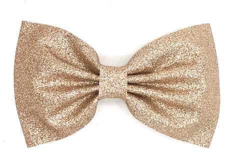 Light Gold Glitter Hair Bow on Clip