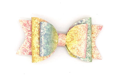Rainbow Glitter Dolly Bow