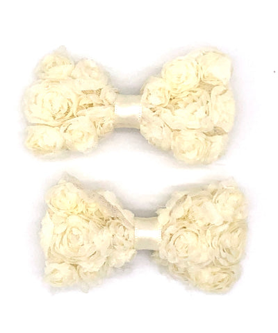 White Floral Hair Bow on Clip