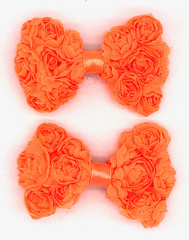 Orange Floral Hair Bow on Clip