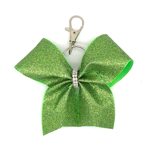 Lime Green Glitter Bag Charm/ Keychain