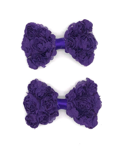 Purple Floral Hair Bow on Clip