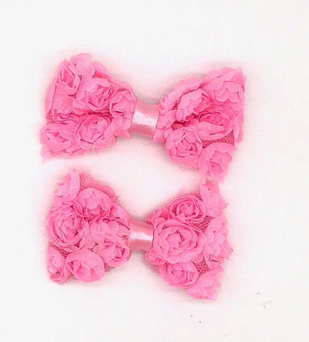 Pink Floral Hair Bow on Clip