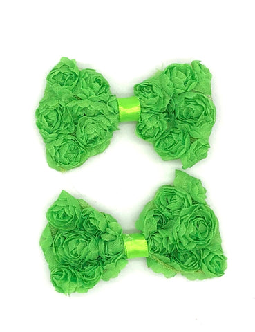 Green Floral Hair Bow on Clip