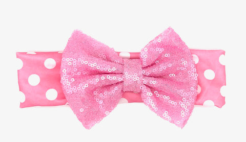 White Dots Baby Headband with Pink Bow