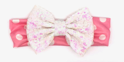 Pink & White Dots Baby Headband with White Bow