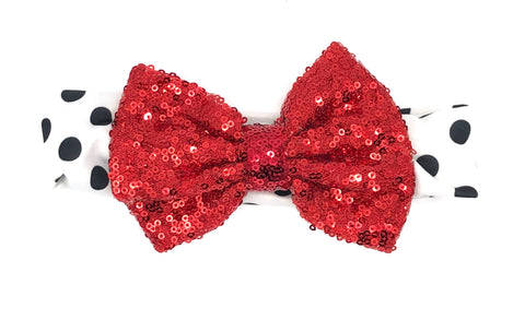 Black Dots Baby Headband with Red Bow