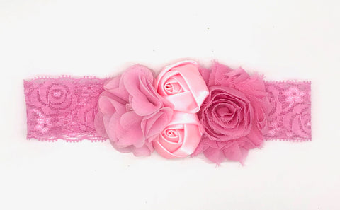 Pink Floral Soft Baby Headband