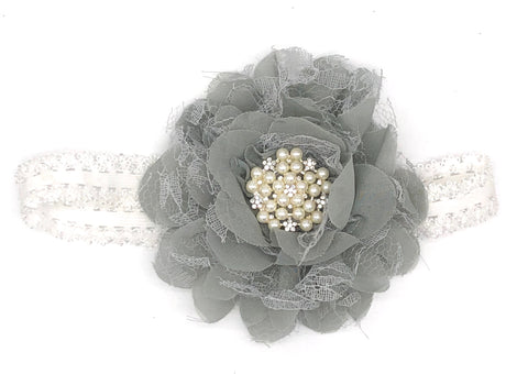 Grey Baby Headband with Flower
