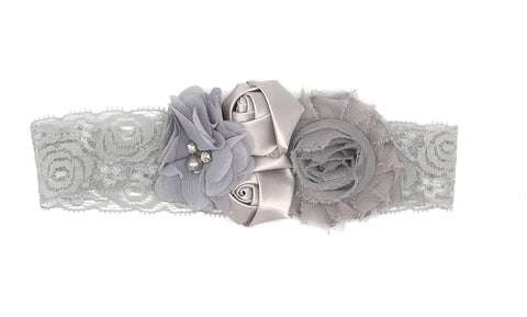 Grey Baby Headband with Small Flowers