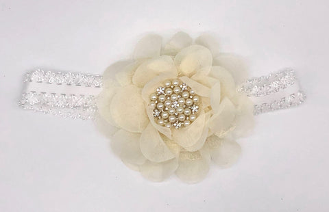 White Baby Headband with Large Flower