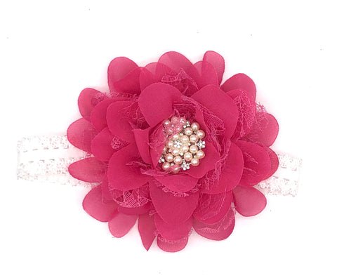 Hot Pink Baby Headband with Flower