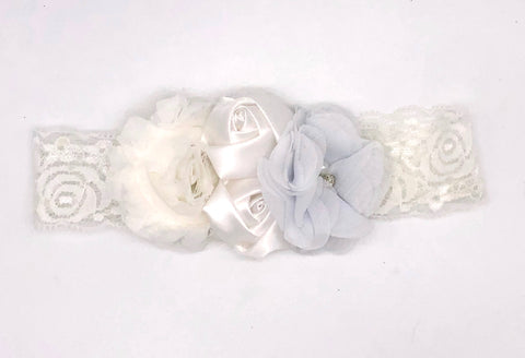White Baby Headband with Small Flowers